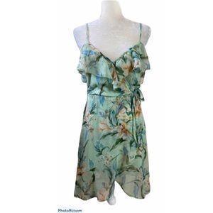 Band of Gypsies Green Floral Print Dress